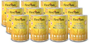 FirstMate 12 Cans of Cage-Free Chicken and Rice Grain-Friendly Dog Food, 12.2 Ounces Each, with No Corn, Wheat, Soy, Gluten, Peas or Potato