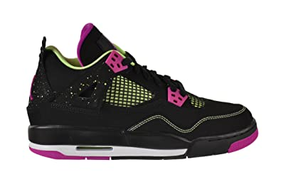 6d43f343f9e6 Jordan Air 4 Retro 30th GG Big Kids Shoes Black Fuchsia Flash-Liquid Lime