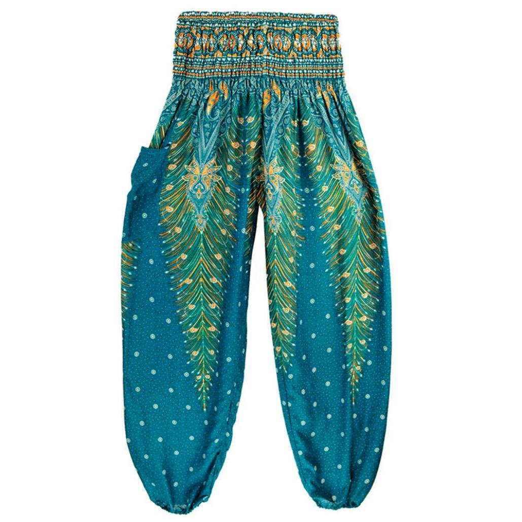 Muranba Elastic Waist Loose Fit Baggy Gypsy Hippie Boho Yoga Harem Pants Free Size)