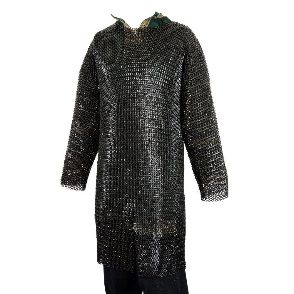 Armor Venue: Chainmail Hauberk - Butted Flat Rings - Blackened Finish Large