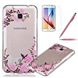 Galaxy J3 2016 Case, Galaxy J3 2016 Transparent Case, Felfy Crystal Clear Ultra Slim Scratch Flexible Soft TPU Gel Fashion Painted Bird Flower Creative Design Bumper Back Silicone Cover Case for Samsung Galaxy J3 2016 with Screen Protector + Pink Stylus