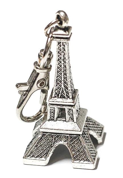 Amazon.com: Plata Toned pares de la torre Eiffel llavero Key ...