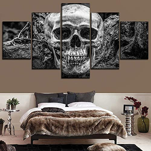 vbvbvb 5 Pieces Canvas Paintings Wall Art Framed 5 Panel Abstract Skull Pictures Modern Canvas Print Painting Wall Art Decor Modular Poster Home Decoration Bedroom Large Artworks DFXIAO