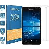 PREMYO [2 Stück] Lumia 950 Panzerglas. Lumia 950 Displayschutzfolie mit Härtegrad 9H und abgerundeten Ecken 2,5D. Microsoft Lumia 950 Schutzglas