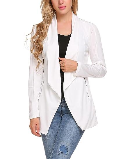 Aimage - Chaqueta de Traje - para Mujer Blanco Blanco XL ...