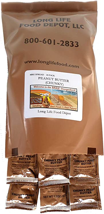 MRE Mantequilla de maní (troceada) – 24 Unidades: Amazon.es ...