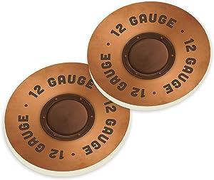 12 Gauge Shotgun Shell Design 2.75 x 2.75 Absorbent Ceramic Car Coasters Pack of 2