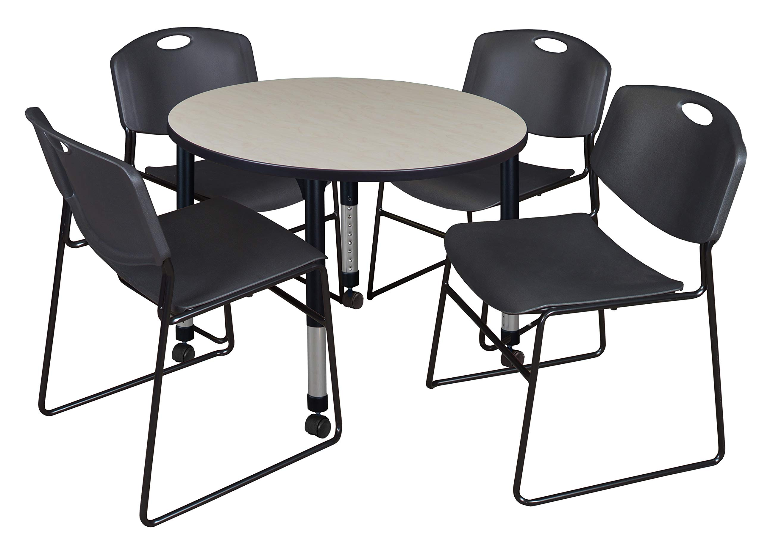 Regency TB42RNDPLAPCBK44BK Kee Height Adjustable Mobile Classroom Table Set with Four Zeng Chairs, 42'', Maple/Black by Regency