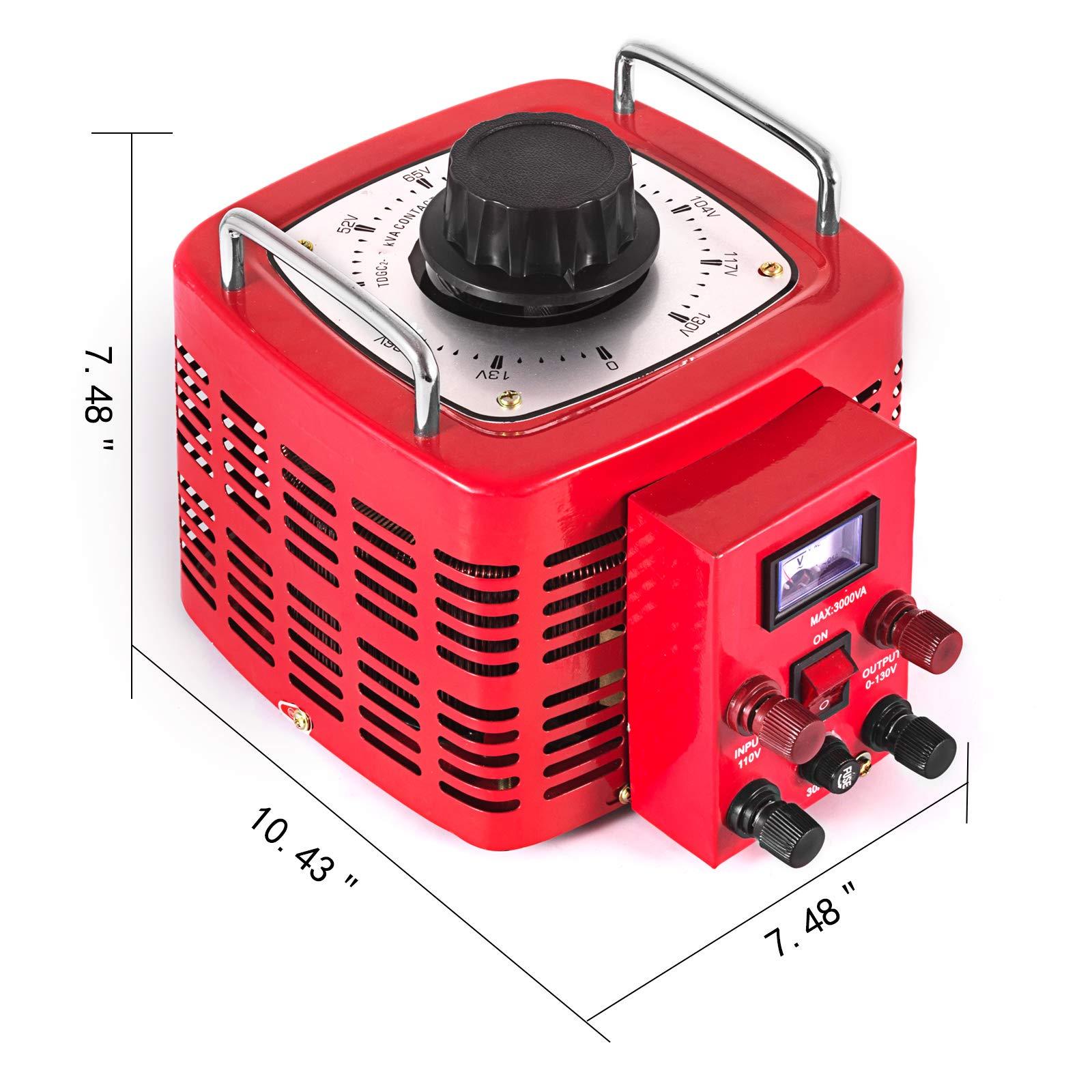 VEVOR 3KVA Transformer Max 30 Amp Variable Transformer 0~130 Volt Output Variable AC Voltage Regulator for Industries Equipment Appliances by VEVOR (Image #2)