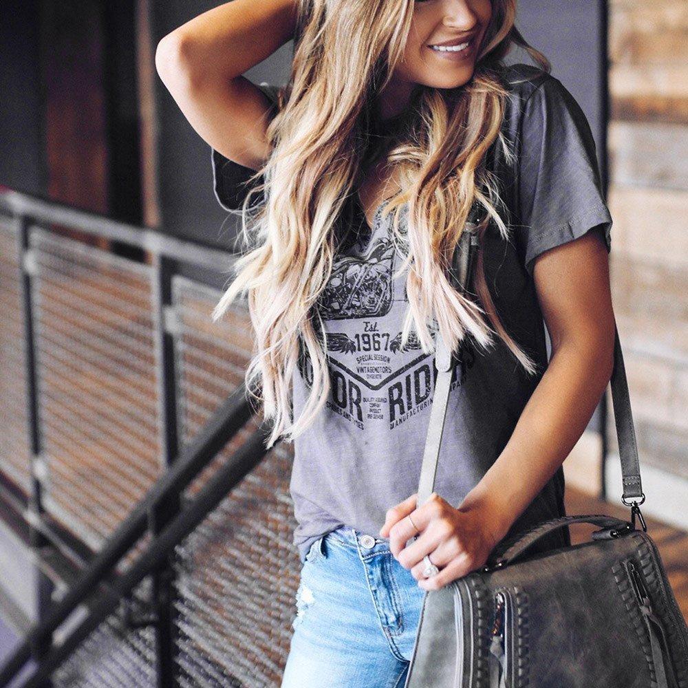 Womens Vintage Stylish Print Short Sleeve Choker V Neck Blouse Tops T-Shirts