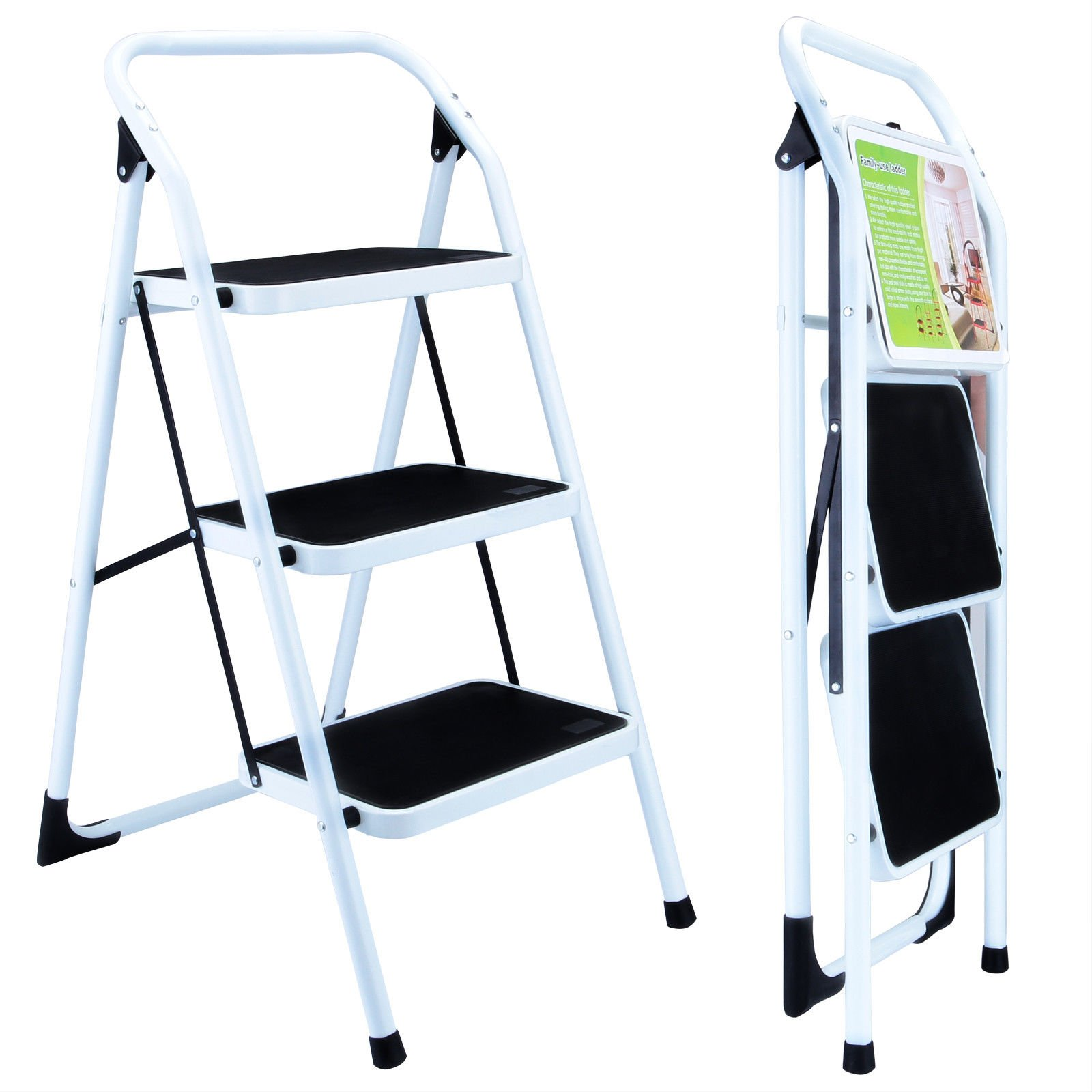 Senrob 3 Step Ladder with Hand Grip&Platform,Folding Lightweight Tool Suiting for Home-Max Weight 330lbs