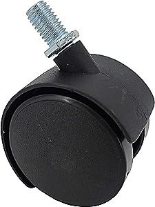 FixtureDisplays 2 Inch 40 lbs Capacity Plastic Stem Wheel M8X15 Stem 360 Degree Rotation Swivel Furniture Caster Black Stem Wheel Non-Locking Castor 40 lbs Load Capacity Each Stem Wheel 401050-1PK-NF