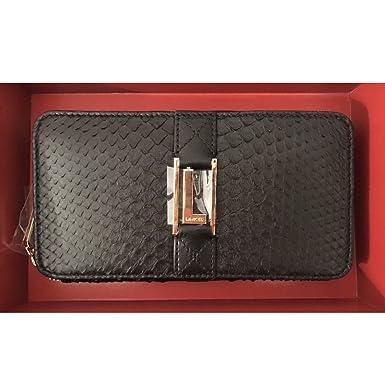 lancel paris black snakeskin wallet large at amazon women s clothing
