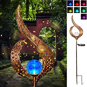 Solar Stake Lights Outdoor Crackle Glass Globe Stake Metal Lights Color Changing for Garden Pathway Outdoor Decoration (Metal)