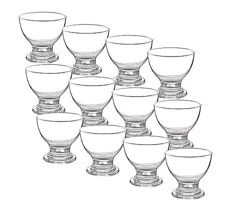 Glass Dessert Bowls Sundae Ice Cream Set of 6 Short Stemmed Tulip Prawn Cocktail Glasses.