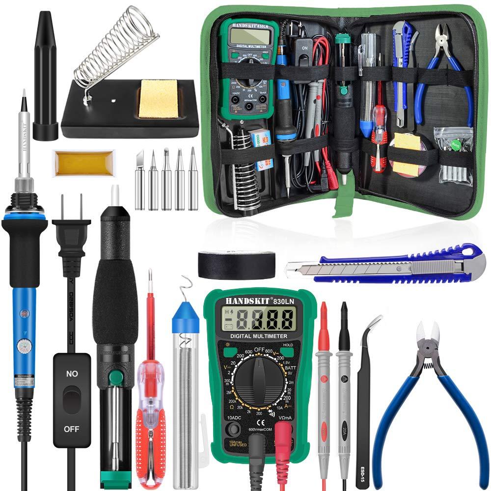 Soldering Iron - Soldering Kit, 19-in-1 60w Soldering Iron Kit Electronics Adjustable Temperature Welding Iron with ON/OFF Switch, Digital Multimeter, 5 Tips, Desoldering Pump, Screwdriver, Tweezers