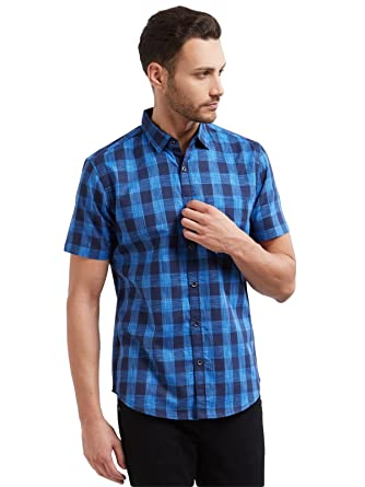 ac1ab0902c70d Vulcan Blue Checkered Half Sleeves 100% Cotton Casual Shirt for Men ...
