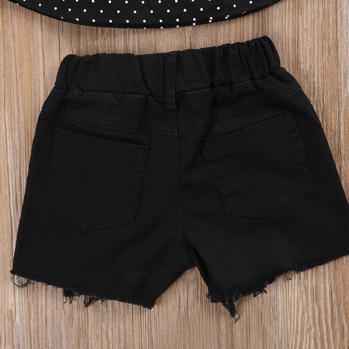 Mrs.BakerHome Little Girl Lotus Design Stripe//Dots Tops+Tassel Triangle Bottom//Short Jeans+Bowknot Headband