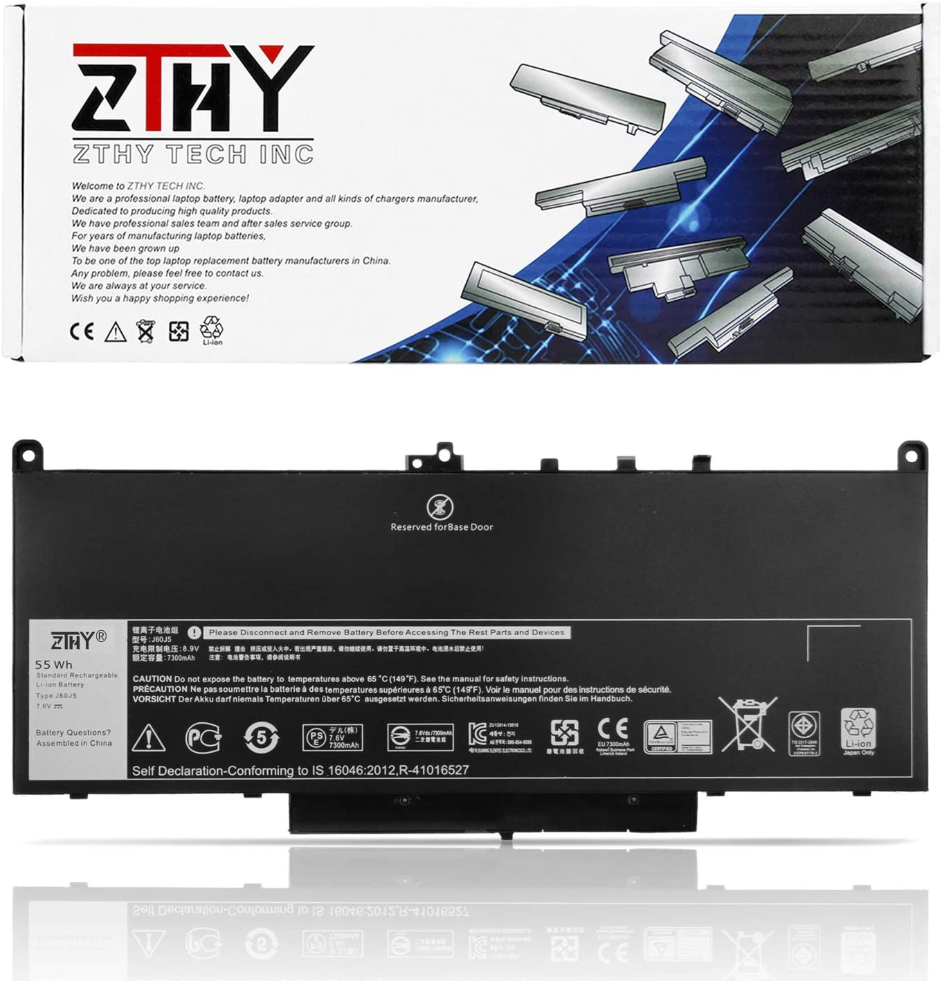 ZTHY J60J5 Primary Laptop Battery Replacement for Dell Latitude E7270 P26S001 E7470 P61G001 Series Notebook R1V85 451-BBSX 451-BBSY 451-BBSU MC34Y 242WD PDNM2 7.6V 55WHr 4Cell