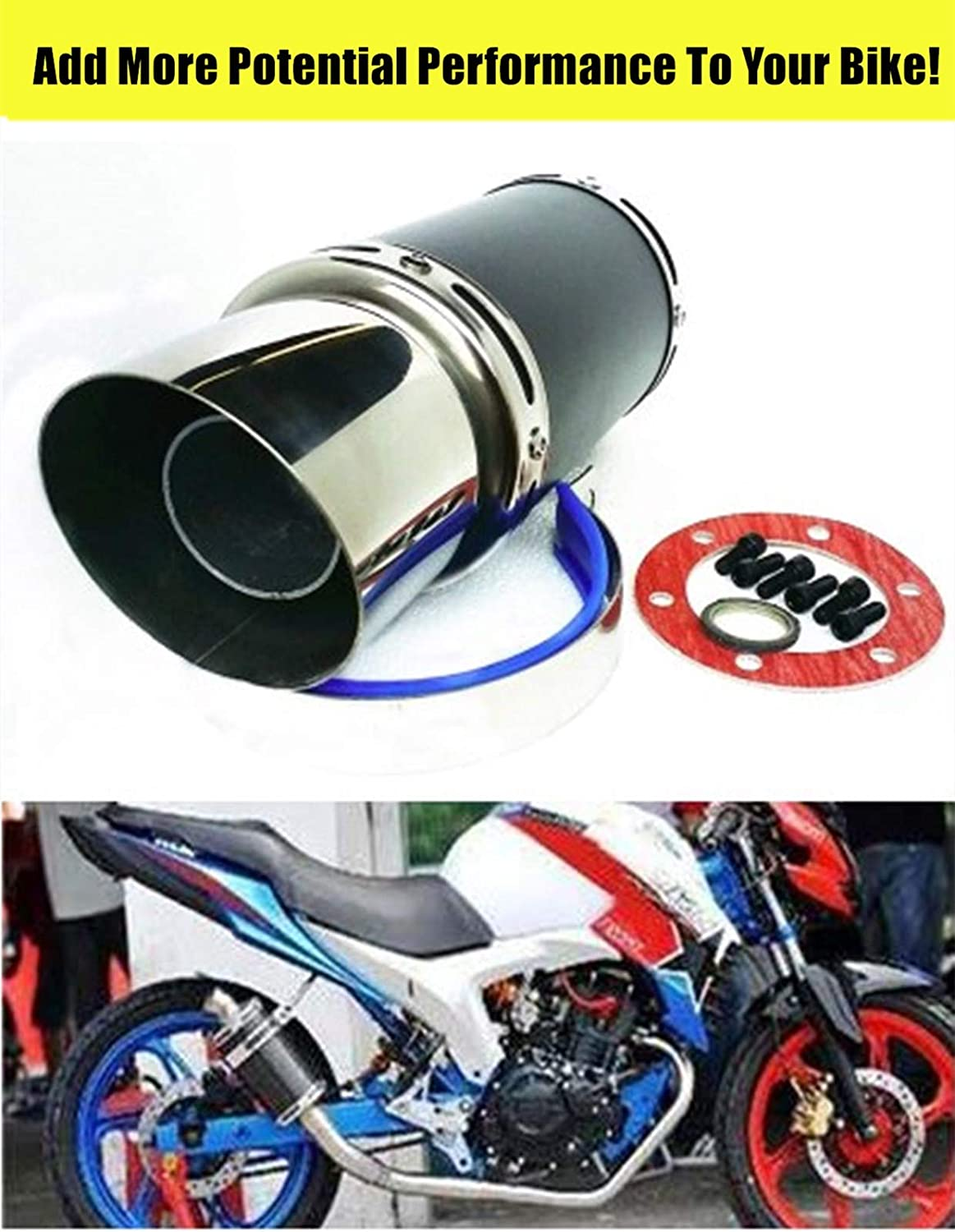 Keelexsta Exhuast Muffler Pipe System for GY6 50cc-400cc High Performance 4 Stroke Scooter Moped ATV Go Kart-Black