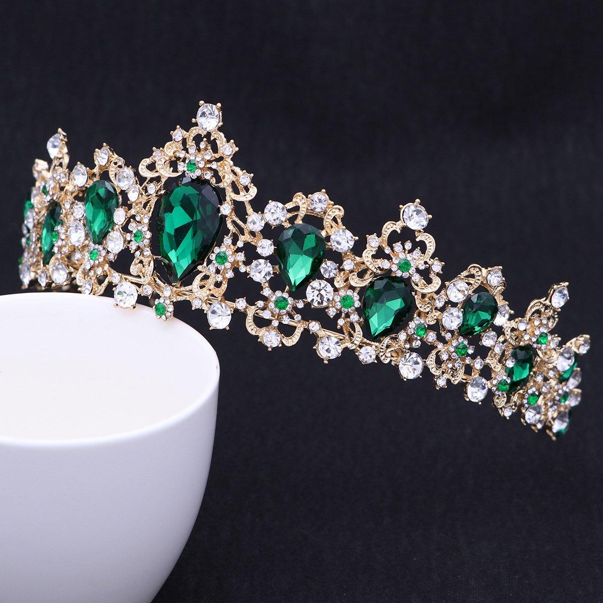 Royal Crystal Tiara Green Rhinestone Queen Tiara Wedding Crown Princess Hair Accessories for Women (Emerald Color)