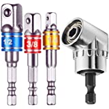"105 Degree Right Angle Driver Angle Extension Power Screwdriver Drill (1/4 inch, Hexagonal Handle) + Impact Grade Socket Adapter/Extension Set (3Pcs Cr-V Hex Shank | 1/4"" 3/8"" 1/2"" Drive)"