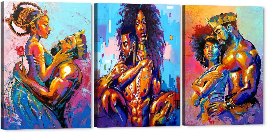 Set of 3 African King and Queen Canvas Wall Art, Black Art Paintings for Wall, King & Queen Crowns Poster for Adult Bedroom Decor, Sexy Pose of African Lovers Picture Framed Artwork (20''Hx42''W)