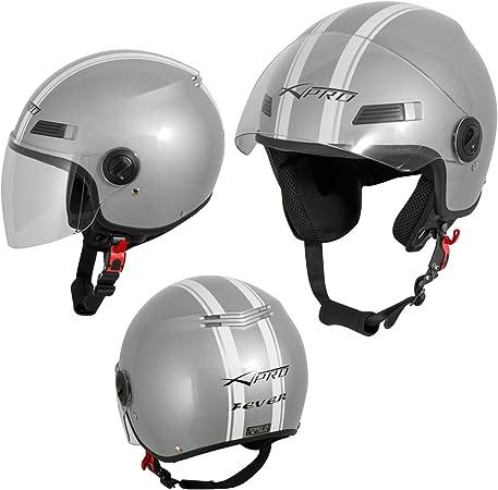 Motorradhelm Motorrad Roller Offenes Jet Helm Viser Ece 22 05 Silber S Auto
