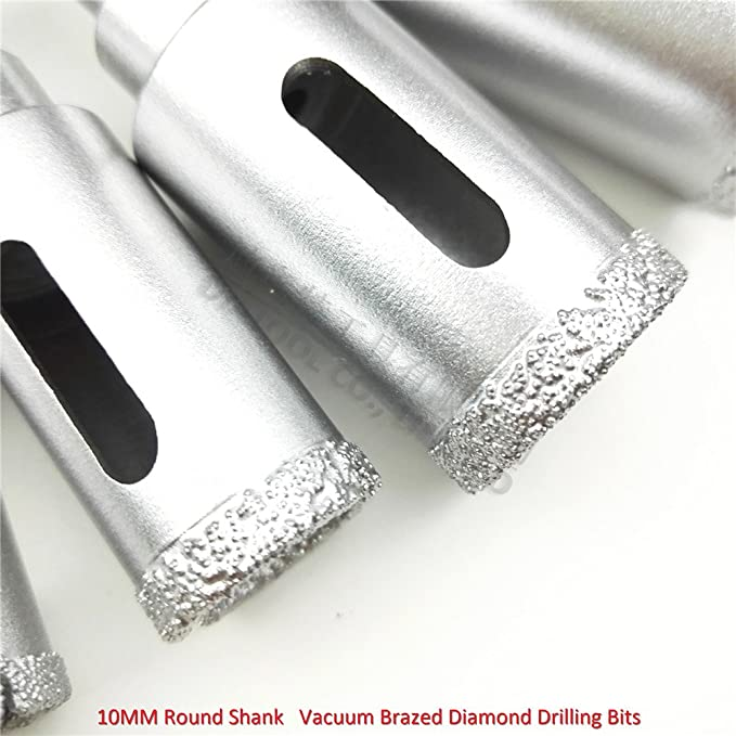 6-60mm SHDIATOOL Vacuum Brazed Diamond Wet Drill Core Bits,Set of 10 Pieces with 10mm Round Shank for Granite Marble Masonry Ceramic Tile