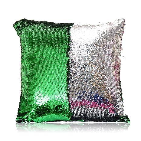 HomeLava Fundas de Cojín Dos Colores DIY Lentejuelas Fundas Cojines 40x40cm,Verde Claro + Plata