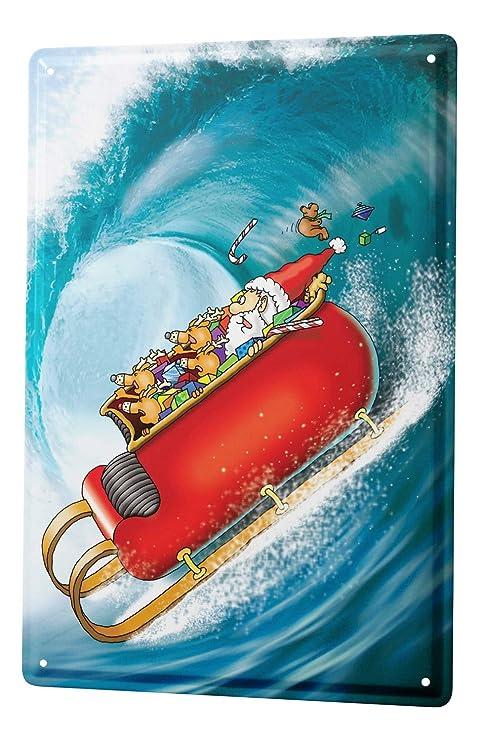 Cartel Letrero de Chapa Dibujos Animados Santa en vacaciones ...
