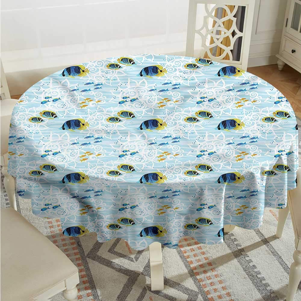 color07 D50 INCHTim1Beve Aquarium Fashions Table Cloth Tropic Fishes Coral Reef Highend Durable Creative Home D54 INCH