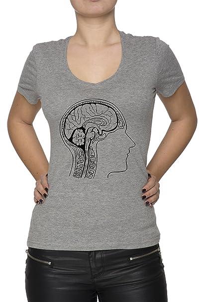 Cerebro Anatomía Mujer Camiseta V-Cuello Gris Manga Corta Todos Los ...