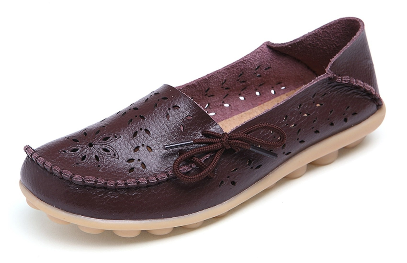 VenusCelia Women's Breathable Comfort Walking Flat Loafer(9 B(M) US,Brown)
