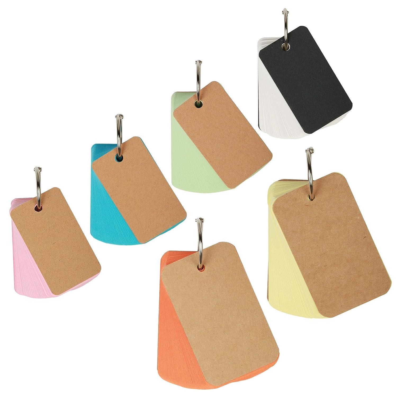 6 pacchi 460 pezzi flashcard ZoomSky memo zero protezioni vuoto assortiti, dimensione e colore mini - indice/studio / nota/messaggio carta con gli anelli