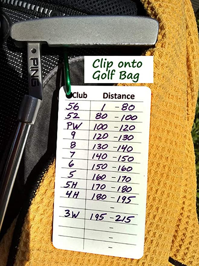 Amazon Com Golf Club Distance Card And Free Golf Brush Sports Outdoors