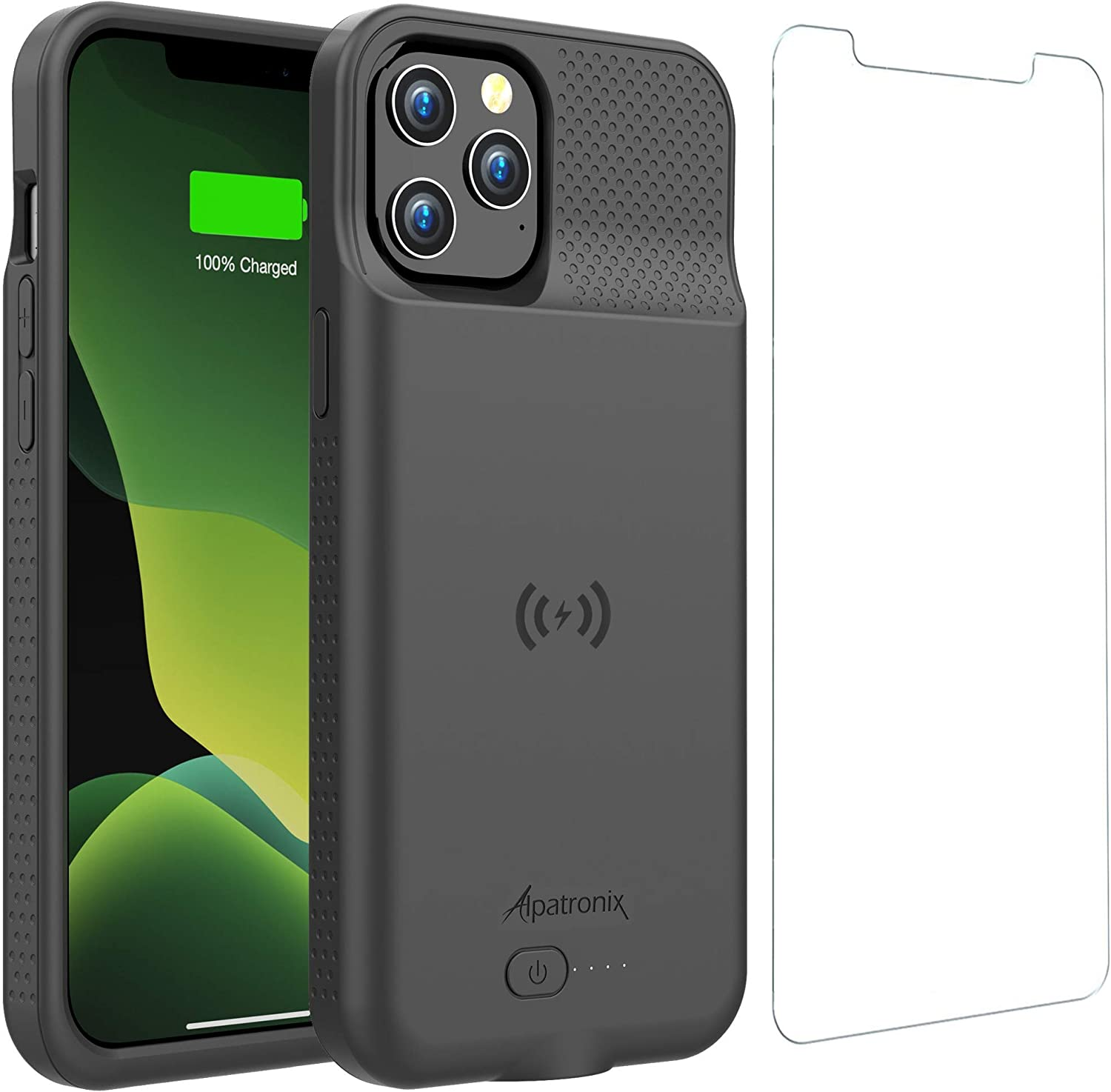 Battery Case for iPhone 12 Pro Max, 6000mAh Slim Portable Protective Extended Charger Cover with Wireless Charging Compatible with iPhone 12 Pro Max (6.7 inch) - BX12Pro Max (Matte Black)