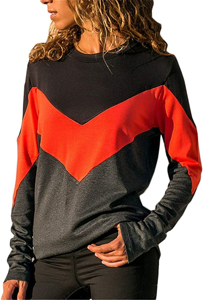 Womens Fall Contrast Color O-Neck Long Sleeve Blouse T-shirt Autumn Holiday Tops
