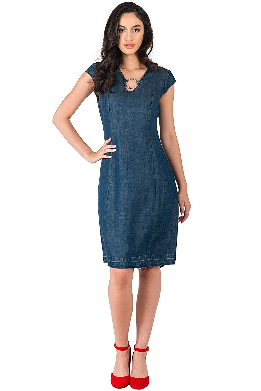 Standards & Practices Modern Women Cap Sleeve Denim Tencel Princess Sheath Dress