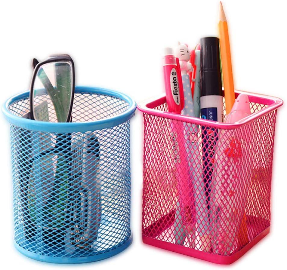 Metall Schreibtisch Organizer Stifthalter Stiftek/öcher Stiftebox Mesh Briefpapier Container Make-up B/ürstenhalter Aufbewahrungskorb Blau