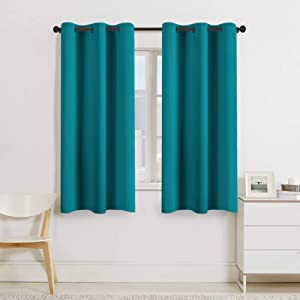 "Turquoize Teal Blackout Window Drapes Room Darkening Themal Insulated Grommet/Eyelet Top Nursery/Living Room Curtains for Bedroom/Living Room Each Panel 42"" W x 63"" L (Set of 2 Panels)"