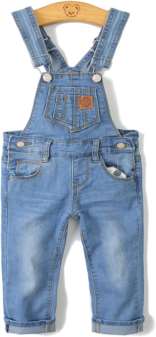 Kidscool Child Ripped Holes Stretchy Stone Washed Soft Slim Jeans Overalls,Light Blue,2-3 Years