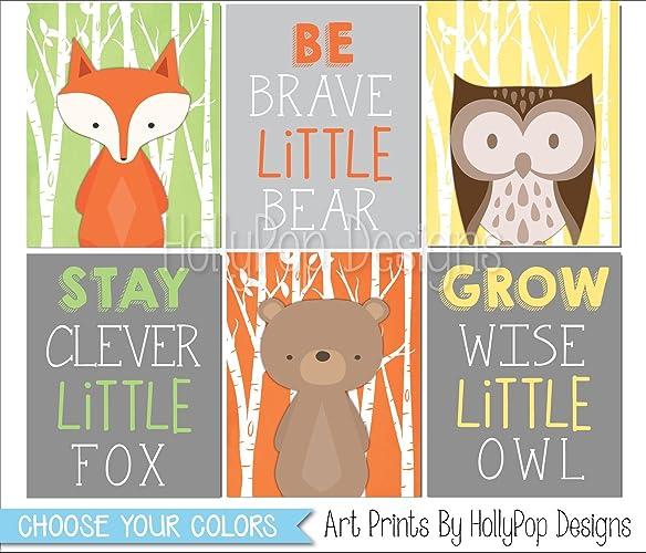 Woodland Nursery Wall Art, Stay Clever Little Fox, Fox Bear Owl Art, Kids  Room Decor, Baby Boy Nursery Art, Woodland Nursery Decor, SET OF 6 UNFRAMED  ART ...