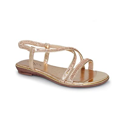 bd02ad5c7 Lunar Women s Camille Glitzy Flat Strap Sandal With Stunning Metal Toe  Plate