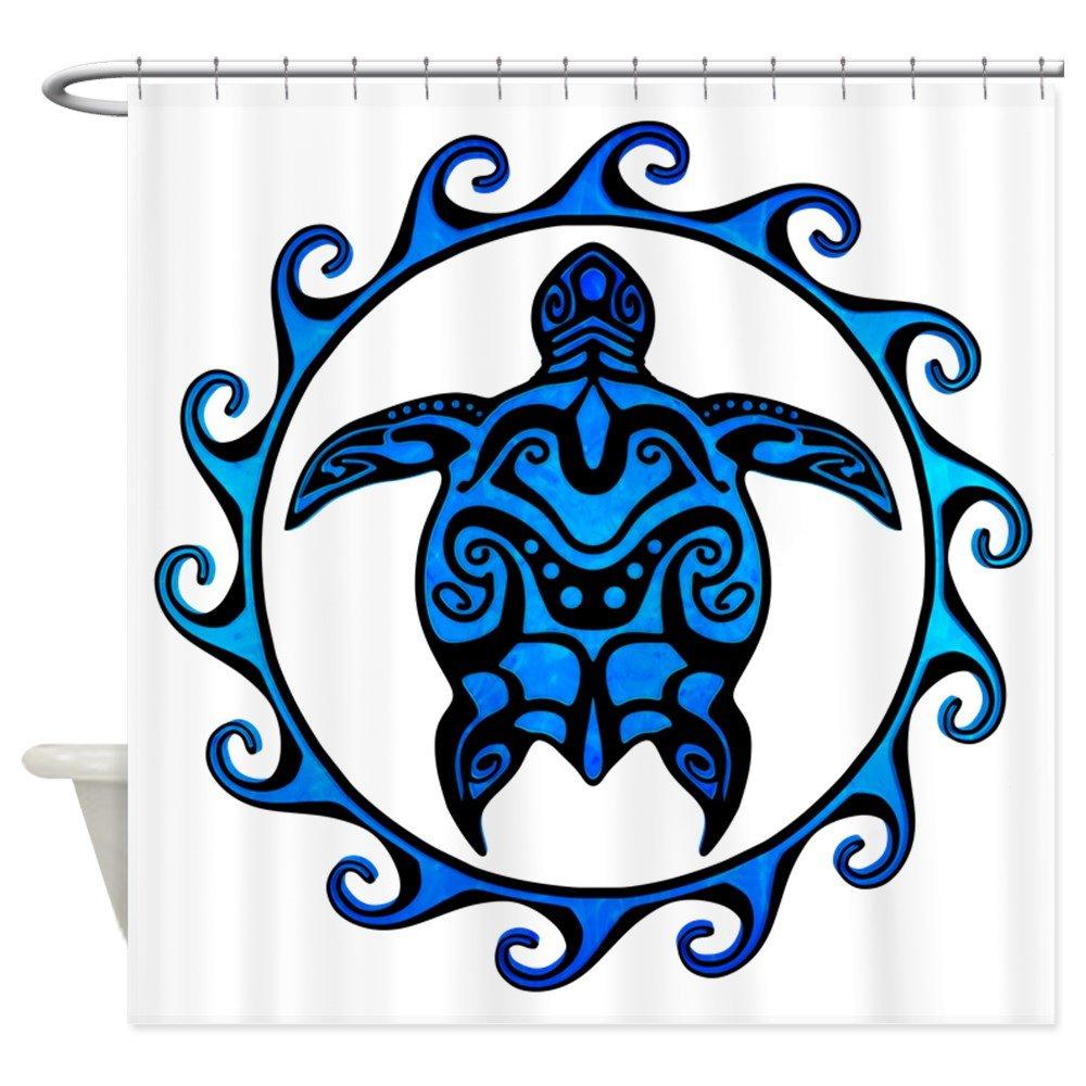 CafePress Tribal maorí azul tortuga cortina de ducha, Blanco ...