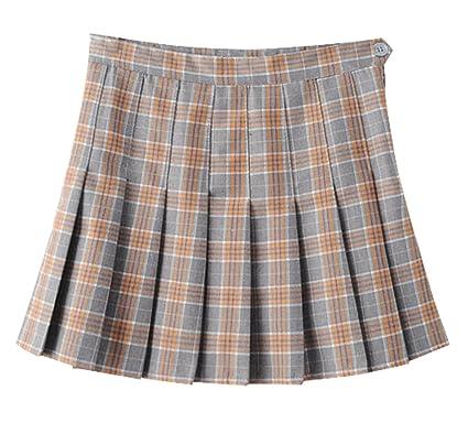 315eacb55 Yasong Women Girls Short High Waist Pleated Skater Tennis Skirt School Skirt  Uniform with Inner Shorts