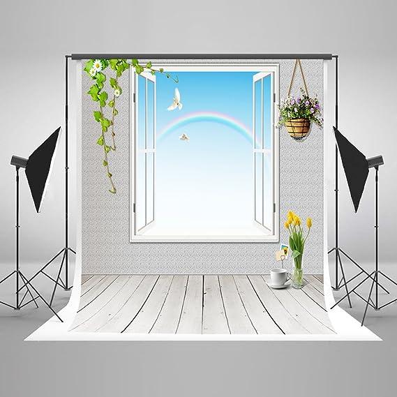 Ventana Photography, ycnet suelos de madera fotografía telón de fondo para boda algodón no arrugas flores Rainbow fondo plegable para fotografía (Studio Props: Amazon.es: Electrónica