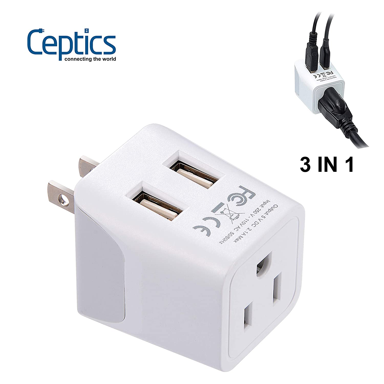 Ceptics Japan, Philippines Travel Adapter Plug with Dual USB - USA Input - Type A - Ultra Compact (CTU-6) - Perfect for Cell Phones, Laptops, Camera Chargers