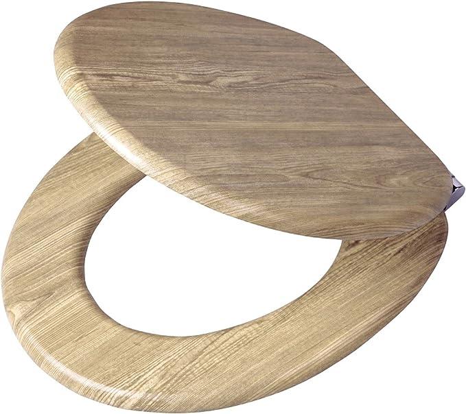 Tiger Scaffold Wood Asiento de Inodoro, Madera, Marrón, 45,5x37,5x5,5 cm: Amazon.es: Hogar