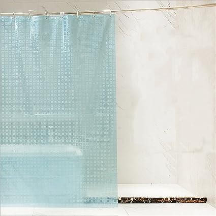 Translucent Shower Curtain 3D Checkered Pattern EVA Waterproof Mildew Proof Bathroom Hotel Blue With Hooks